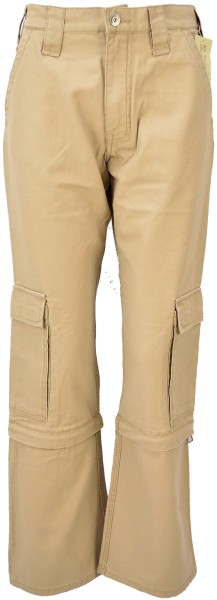 ichmichmirmeins Damen Zipper Fly Jeans mit Seitentaschen in Beige - Frontansicht